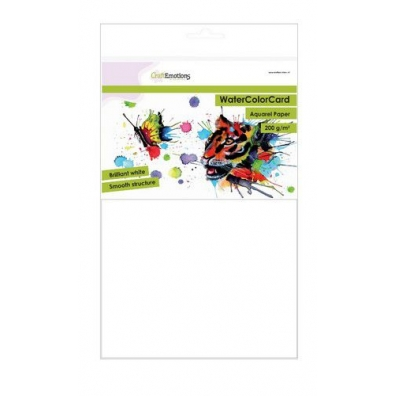 CraftEmotions WatercolorCard - briljant wit 10 vel