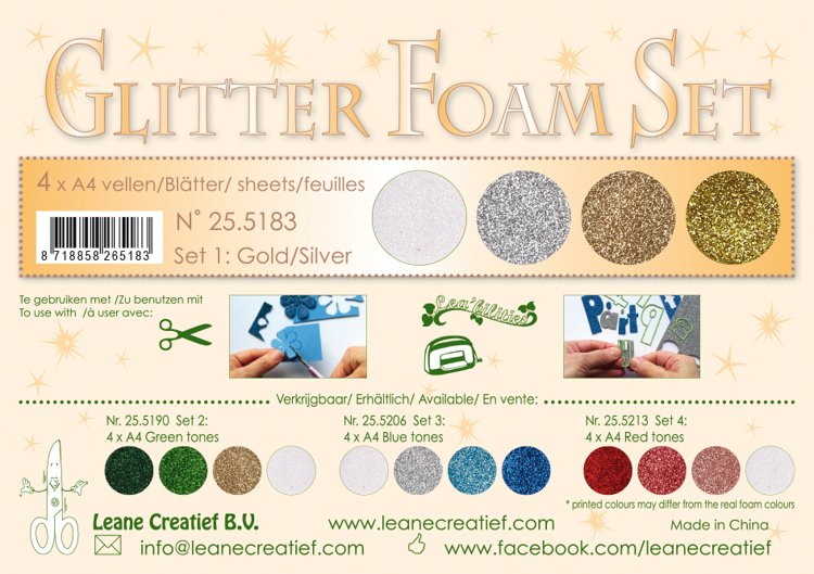 Glitter Foam Set 1, 4 different glitter foam sheets A4 gold/silver colours