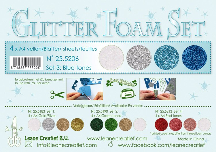 Glitter Foam Set 1, 4 different glitter foam sheets A4 blue/white/silver colours
