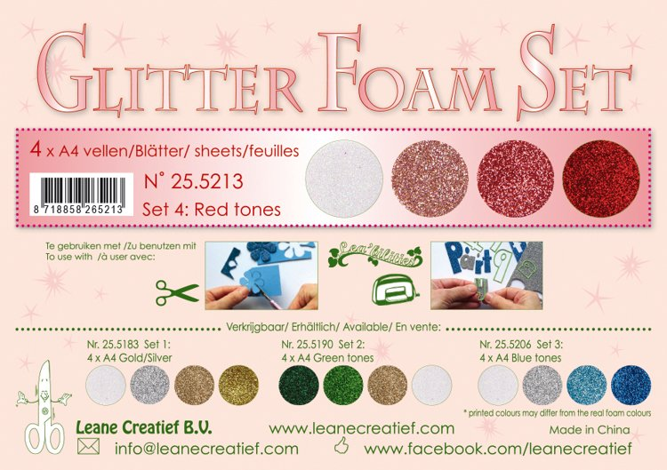 Glitter Foam Set 1, 4 different glitter foam sheets A4 red/white colours