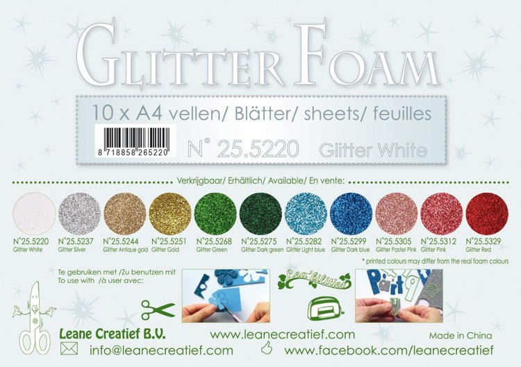 10 Glitter  foam sheets A4 , Glitter White