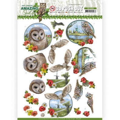 3D Push Out - Amy Design. -  Amazing Owls - Meadow Owls