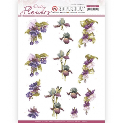 3D Push Out - Precious Marieke - Pretty Flowers. - Purple Flowers