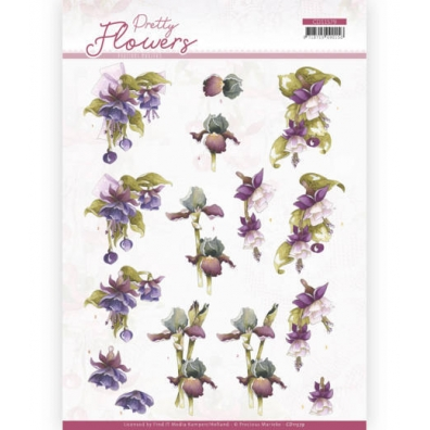 3D knipvel - Precious Marieke - Pretty Flowers - Purple Flowers